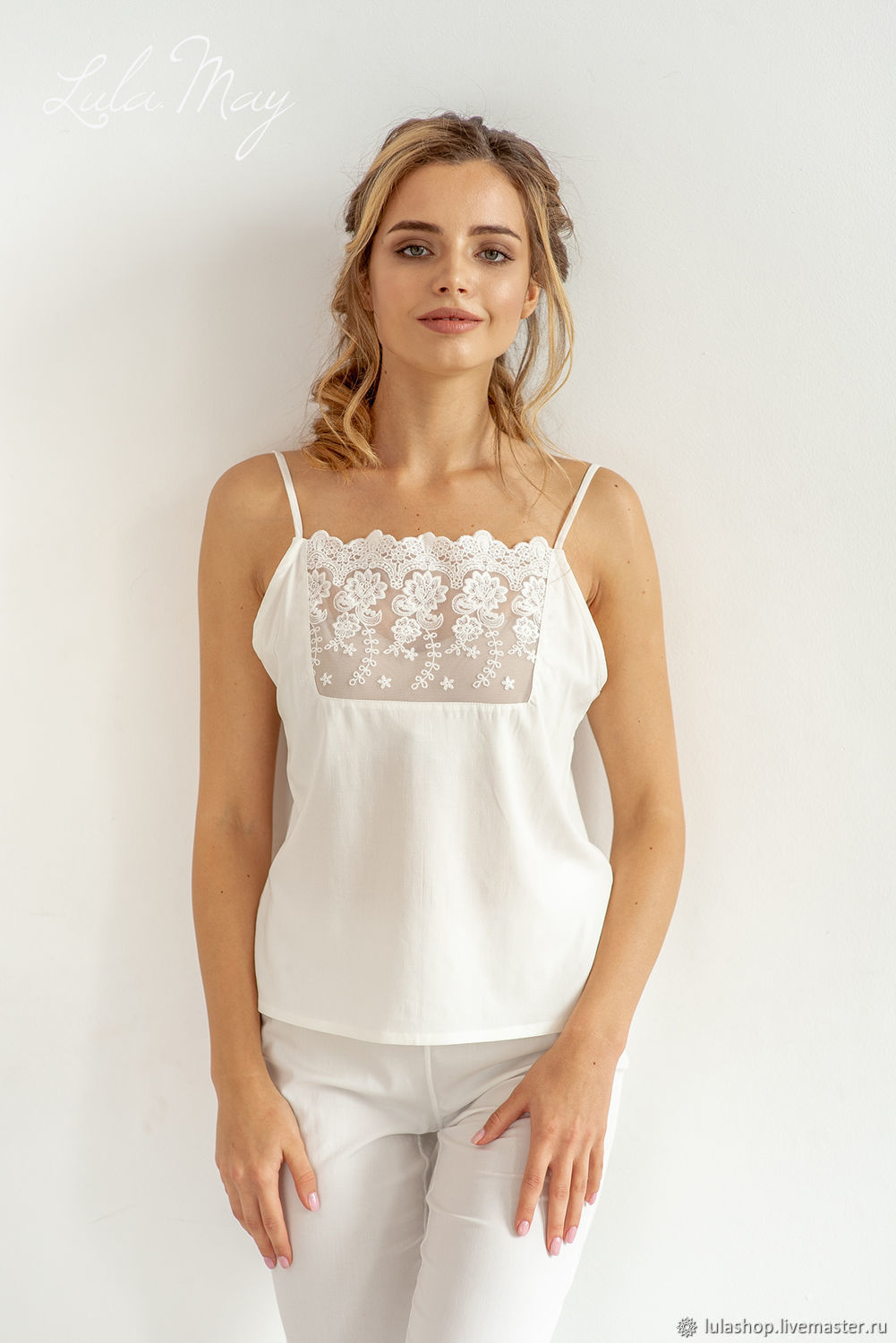 Top with straps 'Nadya' of Italian viscose and lace, Pyjamas, Moscow,  Фото №1