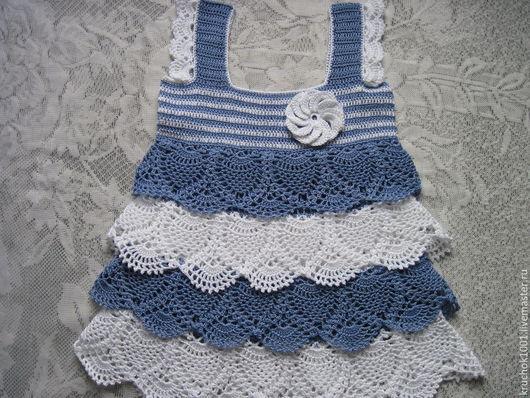 """Одежда для девочек, ручной работы. Ярмарка Мастеров - ручная работа. Купить Сарафан""""Моя морячка"""". Handmade. Разноцветный, платье летнее"""