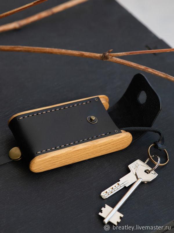Кожаная ключница - BREATLEY - ключница из черной кожи и дерева, Ключницы, Москва,  Фото №1