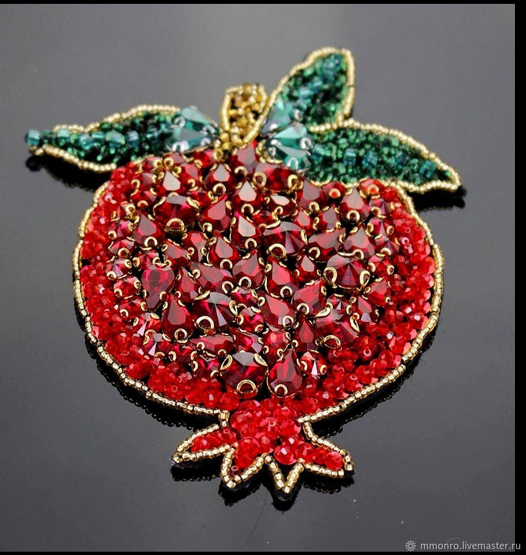 Applique with rhinestones. Juicy pomegranate, Applications, Podolsk,  Фото №1