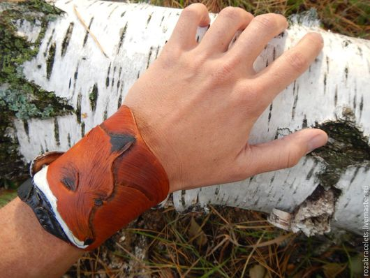 Браслеты ручной работы. Ярмарка Мастеров - ручная работа. Купить Кожаный браслет фигурный Лиса. Handmade. Кожаный браслет