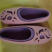 """Обувь ручной работы. Ярмарка Мастеров - ручная работа """"Роза на сиреневом"""" валяные тапочки. Handmade."""