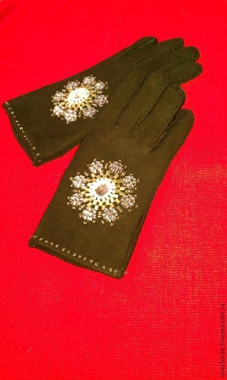 """Варежки, митенки, перчатки ручной работы. Ярмарка Мастеров - ручная работа. Купить Перчатки """"Зимний цветок"""". Handmade. Черный, мех"""