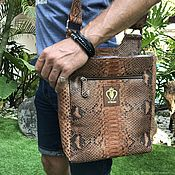 Сумки и аксессуары handmade. Livemaster - original item Men`s Adara Python leather bag. Handmade.