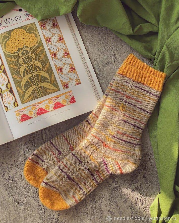 Носки вязанные желтые в полоску, Носки, Санкт-Петербург,  Фото №1