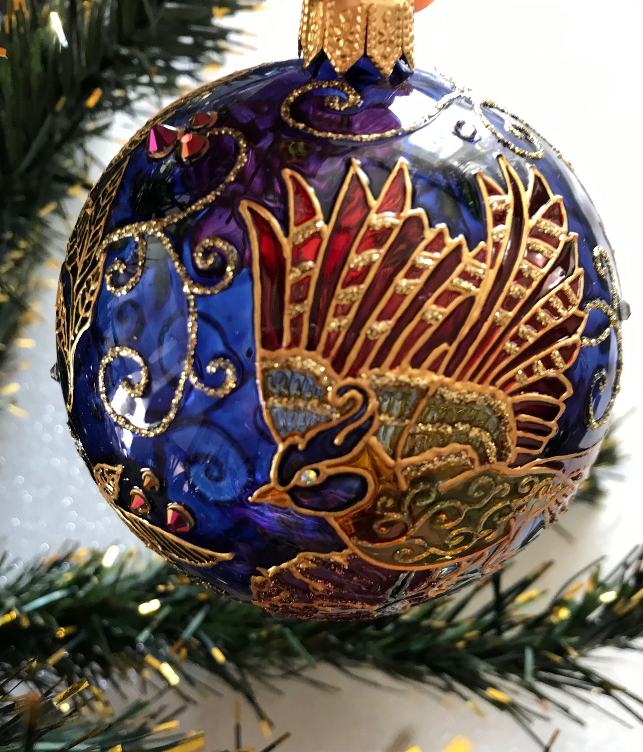 Glass Christmas ball Bird of Happiness, Christmas decorations, Moscow,  Фото №1