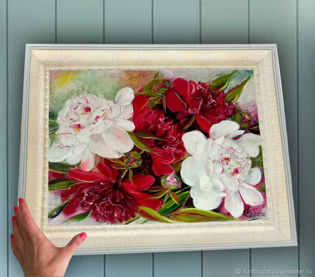 Peonies Ice and fire oil Painting, Pictures, Azov,  Фото №1