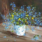 Картины и панно ручной работы. Ярмарка Мастеров - ручная работа Картина маслом Незабудки.  цветы маленькая картина маслом Незабудки. Handmade.