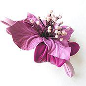 Аксессуары handmade. Livemaster - original item brooch flower leather
