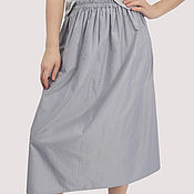 Одежда handmade. Livemaster - original item Blue cotton MIDI skirt with a small stripe on the elastic band. Handmade.
