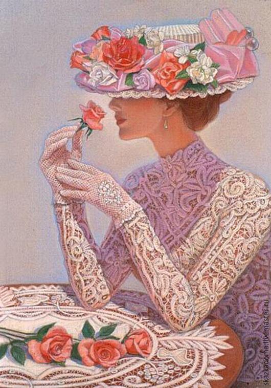 """Вышивка ручной работы. Ярмарка Мастеров - ручная работа. Купить Набор для вышивки лентами  по принту  """"Дама с розами (полуоборот)"""". Handmade."""