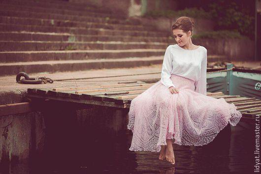 """Юбки ручной работы. Ярмарка Мастеров - ручная работа. Купить Юбка """"Яблоневый сад"""". Handmade. Бледно-розовый, юбка вязаная"""