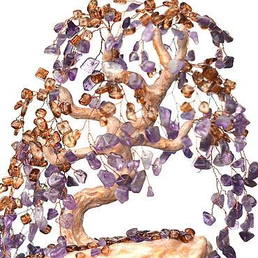 Цветы и флористика ручной работы. Ярмарка Мастеров - ручная работа Дерево из натуральных камней аметиста и кварца. Handmade.