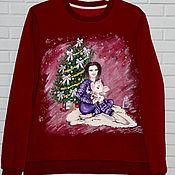 Одежда handmade. Livemaster - original item Christmas Sweatshirt sweatshirt with a picture of pigs a symbol of 2019. Handmade.