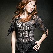 Одежда ручной работы. Ярмарка Мастеров - ручная работа Черная вязаная блуза. Handmade.