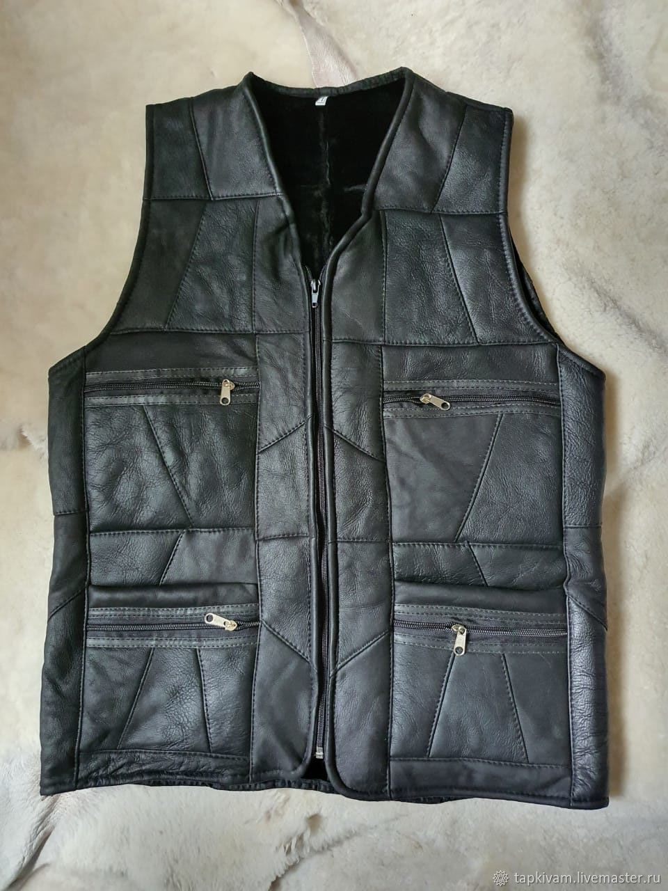 Men's sheepskin leather vest 46-48, Mens vests, Moscow,  Фото №1