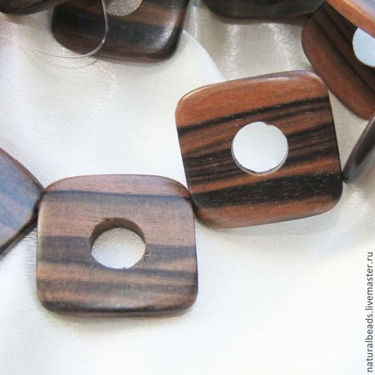 Для украшений ручной работы. Ярмарка Мастеров - ручная работа. Купить КВАДРАТ С КРУГОМ бусины эбеновое дерево. Handmade.