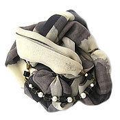 """Аксессуары ручной работы. Ярмарка Мастеров - ручная работа """"Оттенки"""" шарф колье капюшон шерсть 100%. Handmade."""