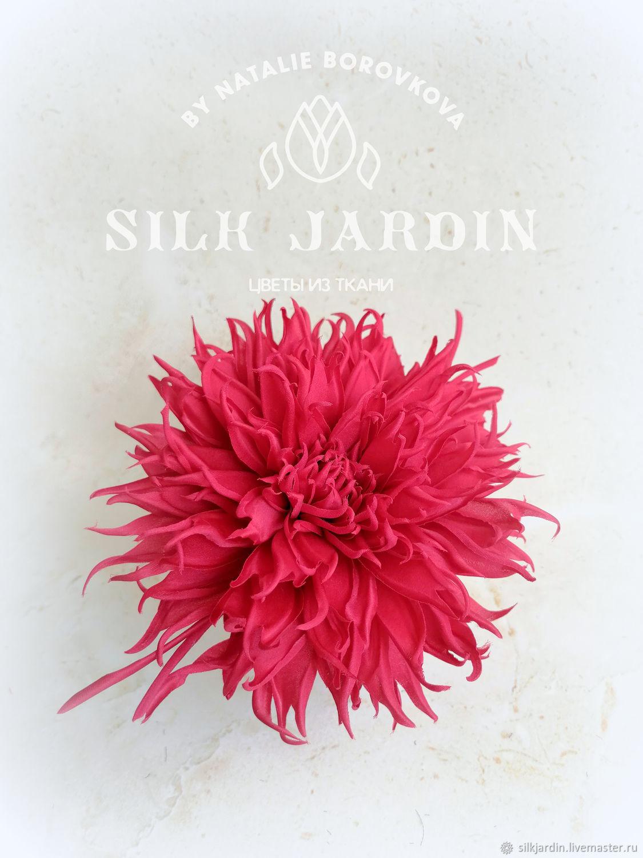 SILK FLOWERS. Burgundy brooch dahlia Fabric flower, Brooches, Chernogolovka,  Фото №1