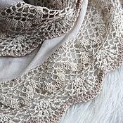 Аксессуары handmade. Livemaster - original item Large tippet sand-coloured design with lace trim. Handmade.