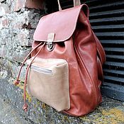 Рюкзак арт. 307/оранжевый+бежевый
