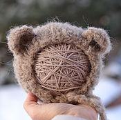 Работы для детей, ручной работы. Ярмарка Мастеров - ручная работа Шапочка Медведь  для фотосессии новорожденных коричневая. Handmade.