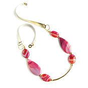 Украшения handmade. Livemaster - original item Stone necklace, pink necklace, leather necklace, statement. Handmade.