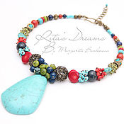 Украшения handmade. Livemaster - original item Necklace with pendant in the Summer, large bright necklace turquoise coral Jasper peridot. Handmade.