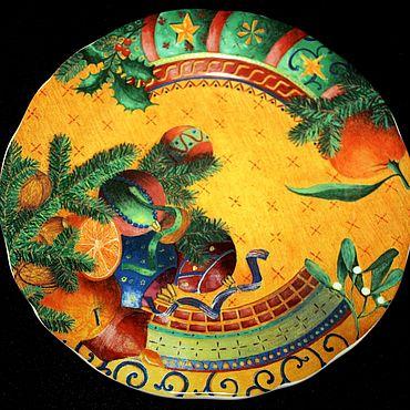 Винтаж ручной работы. Ярмарка Мастеров - ручная работа Редкие, новогодние, детские тарелки фирмы Gien, Франция. Handmade.