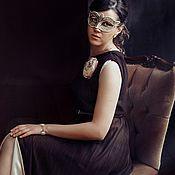 Одежда ручной работы. Ярмарка Мастеров - ручная работа Платье в пол из атласа и шифона цвета шоколада. Handmade.