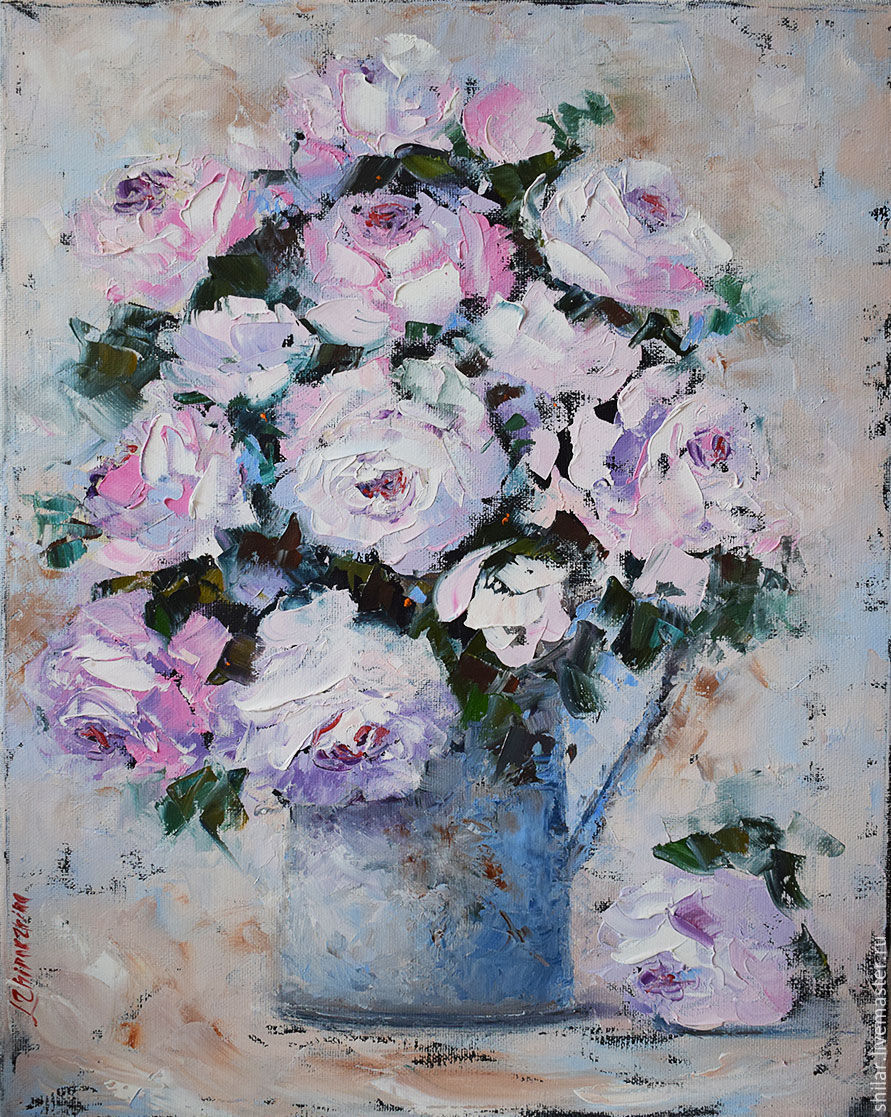 'White roses' oil painting, Pictures, Asha,  Фото №1