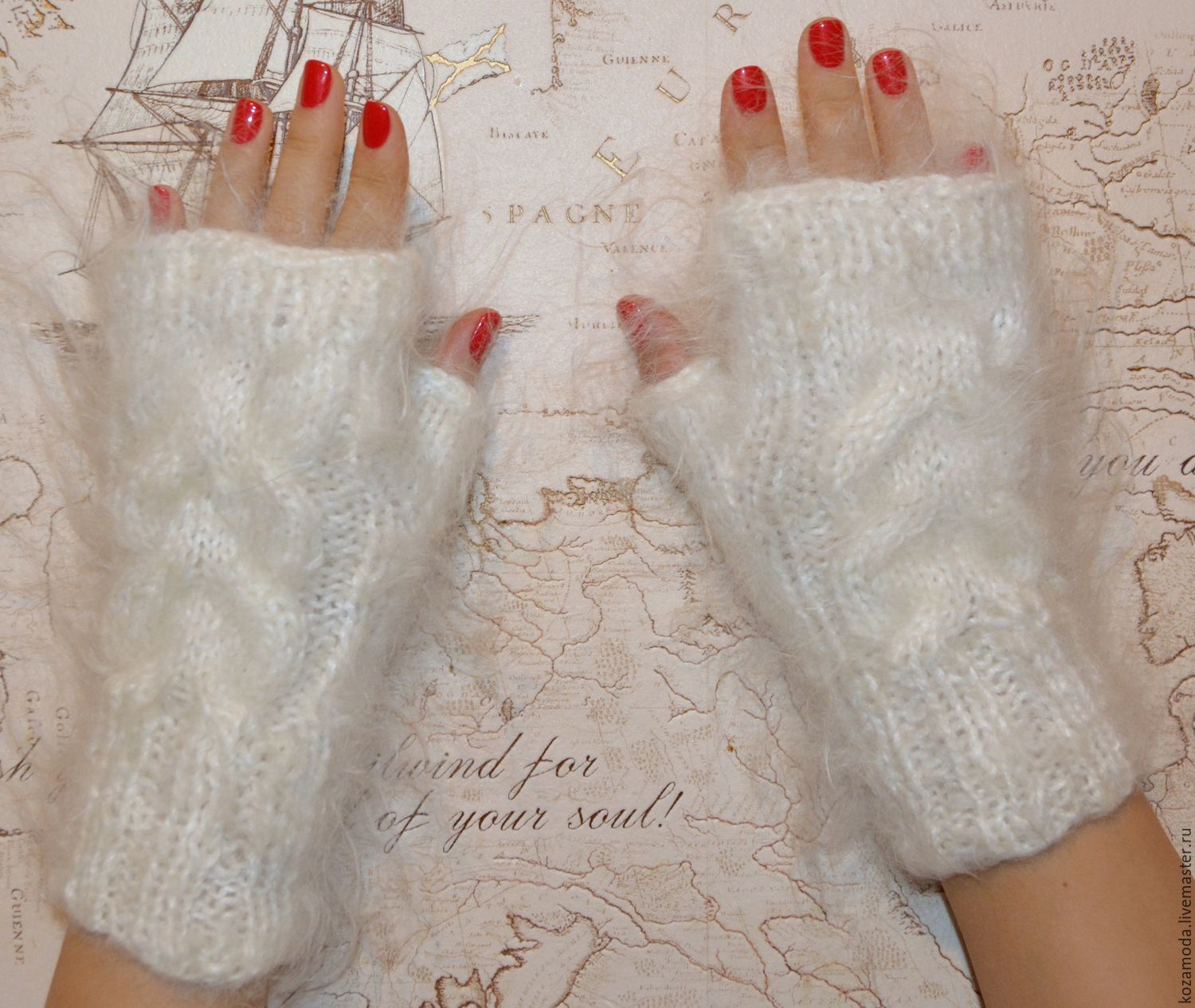 Mittens & Gloves handmade. Livemaster - handmade. Buy Mitts, knitted womens feather, women's mittens, mitts, knitted.Goat