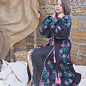 Одежда handmade. Livemaster - original item Black embroidery dress. Linen dress with long sleeve. Boho Dress.. Handmade.