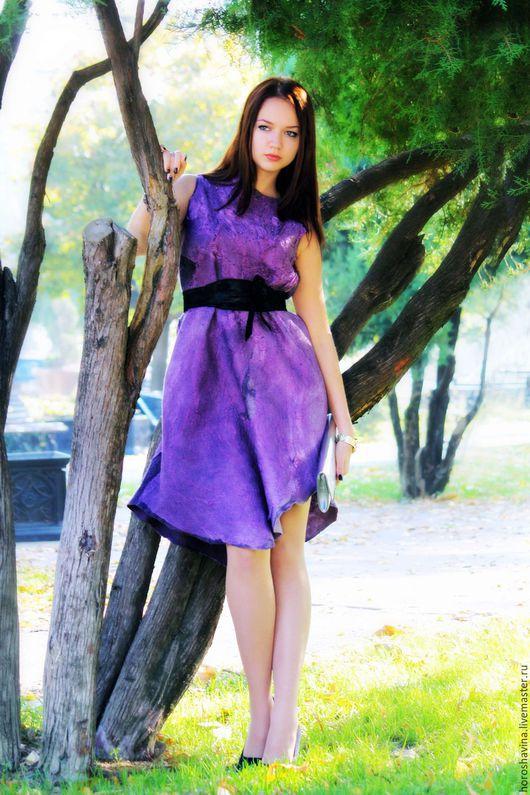 """Платья ручной работы. Ярмарка Мастеров - ручная работа. Купить """"фуксия"""" нуновойлочное платье. Handmade. Коктейльное платье, платье для торжества"""