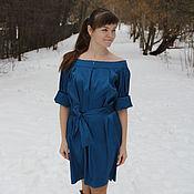 Одежда ручной работы. Ярмарка Мастеров - ручная работа Платье с вырезом лодочка синее. Handmade.