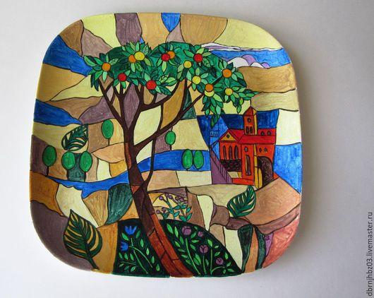 Декоративная посуда ручной работы. Ярмарка Мастеров - ручная работа. Купить Апельсиновое дерево. Handmade. Тарелка декоративная, Витраж