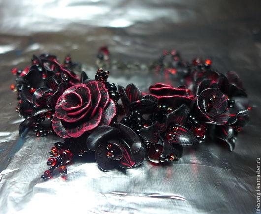 """Браслеты ручной работы. Ярмарка Мастеров - ручная работа. Купить браслет с цветами """"Мулен-руж"""" полимерная глина и бисер. Handmade."""