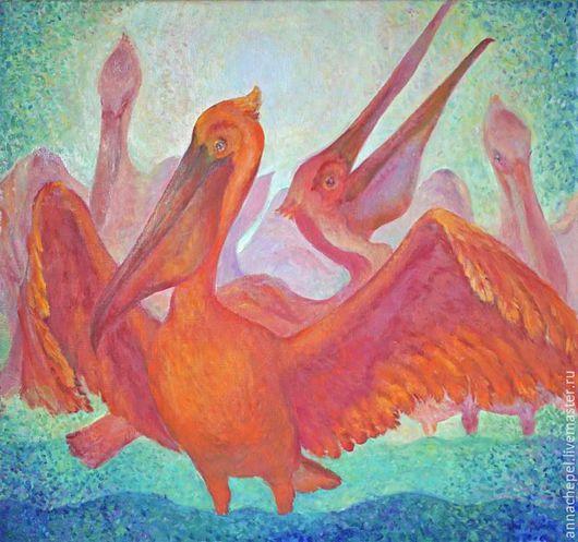 Розовые пеликаны. Анна Чепель.  80 x 75 см., холст, масло, 2002. Декоративная работа с птицами - розовыми пеликанами.