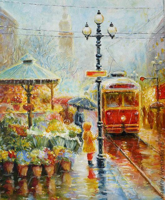 Картина маслом `Красный трамвай`  40x50 см. Доставка по всему миру авиа почтой бесплатно.  Картина - красивый подарок на день рождения, свадьбу, свадебный юбилей и другие праздники.