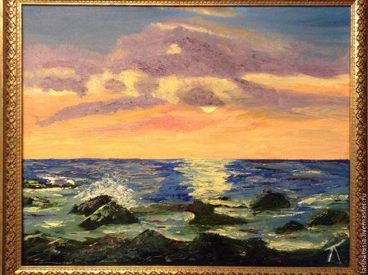 """Пейзаж ручной работы. Ярмарка Мастеров - ручная работа. Купить Картина маслом """"Море"""". Handmade. Море, подарок девушке, любимому"""