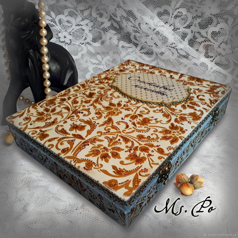 Trinket Boxes handmade. Livemaster - handmade. Buy Photo album with box 'Happy moments...'.Gift, housewarming gift