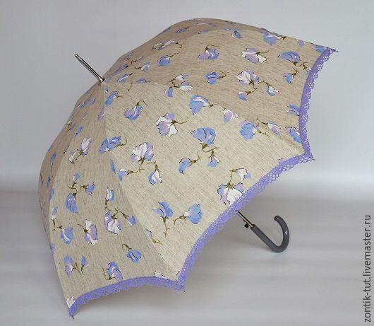 """Зонты ручной работы. Ярмарка Мастеров - ручная работа. Купить Зонт от солнца """"Голубой лен"""". Handmade. Серый, лето, из льна"""