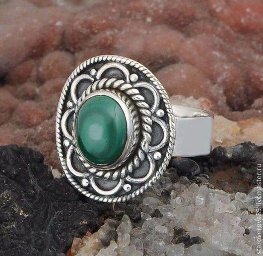 Кольца ручной работы. Ярмарка Мастеров - ручная работа. Купить Кольцо малахит. Handmade. Зеленый, кольцо с малахитом, кольцо серебряное