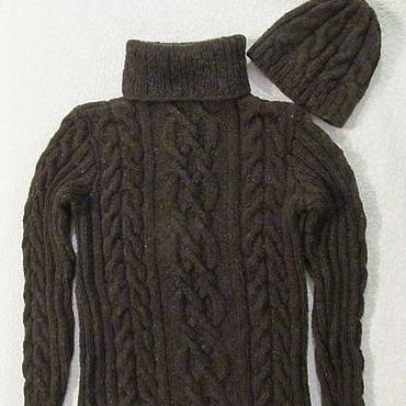 """Одежда ручной работы. Ярмарка Мастеров - ручная работа Комплект """"Настоящий мужчина"""", свитер и шапка из овечьей шерсти.. Handmade."""