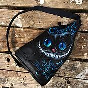 Сумки и аксессуары handmade. Livemaster - original item Crossbody Cheshire Cat small haversack. Painted, handlettered quote. Handmade.