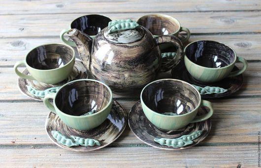 """Сервизы, чайные пары ручной работы. Ярмарка Мастеров - ручная работа. Купить Сервиз """"Зеленый горошек"""" №14. Handmade. Черный"""