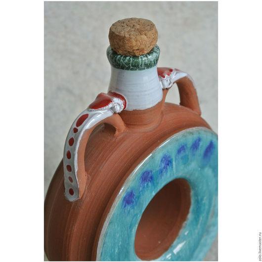 Графины, кувшины ручной работы. Ярмарка Мастеров - ручная работа. Купить Бутылочка керамика маленькая. Handmade. Бирюзовый, бутылка