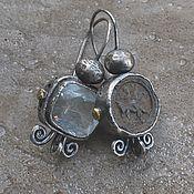 Украшения handmade. Livemaster - original item Antique and aquamarine earrings, silver and brass. Handmade.