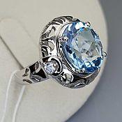 Украшения handmade. Livemaster - original item Silver ring with topaz 12h10 mm and cubic zirconia. Handmade.