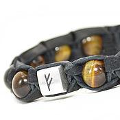 Украшения handmade. Livemaster - original item Bracelet with rune of tiger eye Shamballa. Handmade.